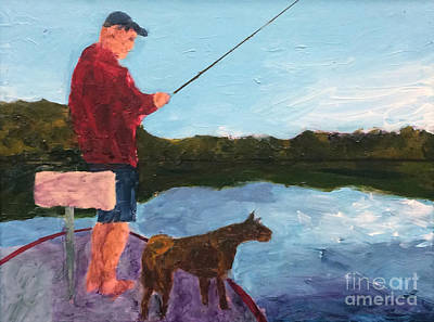 Art Print featuring the painting Fishing by Donald J Ryker III