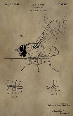 Trout Digital Art - Fishing Fly Patent by Dan Sproul