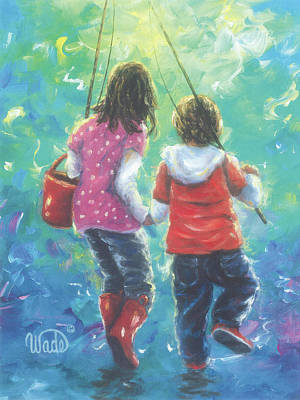 Sisters Painting - Fishing With Sister by Vickie Wade