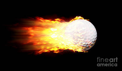 Flame Golf Ball Art Print