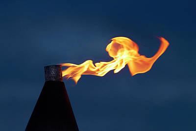 Kerosene Lamp Photograph - Flame On Kerosene Lantern, Crusoe's by David Wall