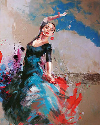 Drapery Painting - Flamenco 41 by Maryam Mughal