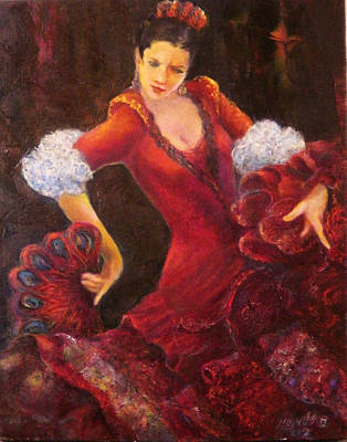 Painting - Flamenco Dancer With A Fan by Sylva Zalmanson