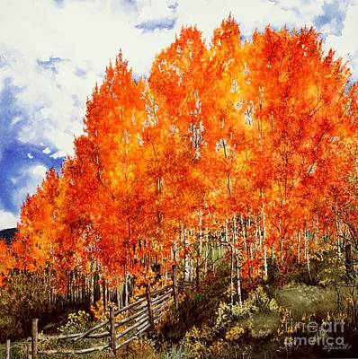 Art Print featuring the painting Flaming Aspens 2 by Barbara Jewell