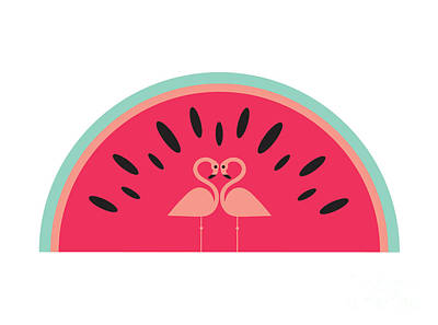 Cute Digital Art - Flamingo Watermelon by Susan Claire