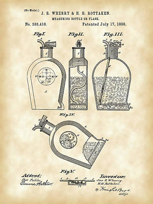 Wine Sipping Digital Art - Flask Patent 1888 - Vintage by Stephen Younts