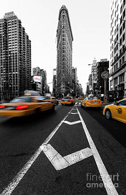 Clock Photograph - Flatiron Building Nyc by John Farnan