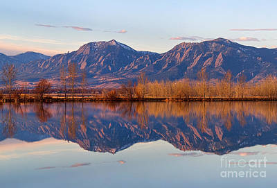 Photograph - Flatirons Sunrise Reflections Light Panorama Boulder Colorado by James BO Insogna
