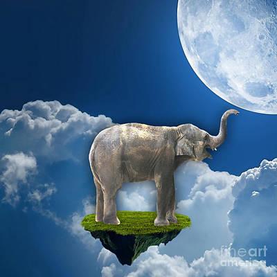 Sky Mixed Media - Flight Of The Elephant by Marvin Blaine