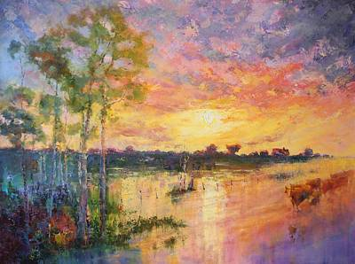 Floods Painting - Flooded Sunset by Marie Green