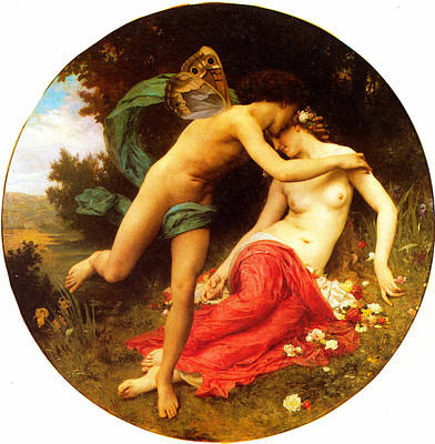Shawl Painting - Flora And Zephyr by William-Adolphe Bouguereau