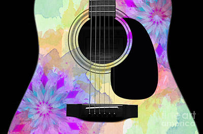 Music Photograph - Floral Abstract Guitar 16 by Andee Design