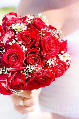 Reception Photograph - Floral Rose Boquet Held By Bride by Jorgo Photography - Wall Art Gallery