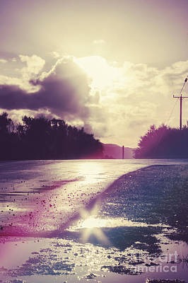 Florescent Road Sunset. Passing Storm Reflection Art Print