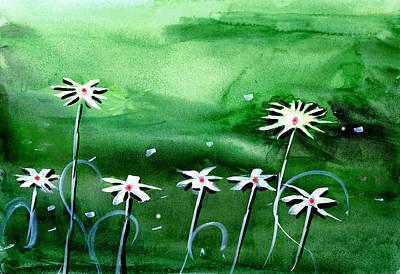 Peaceful Scene Painting - Flowers 3 by Anil Nene