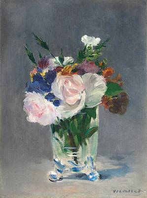 Old Vase Painting - Flowers In A Crystal Vase by Edouard Manet