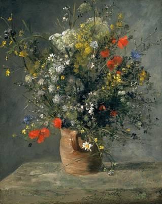 Old Vase Painting - Flowers In A Vase by Pierre-Auguste Renoir