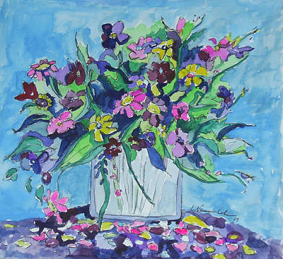 Painting - Flowers In Blue And Purple by Esther Newman-Cohen