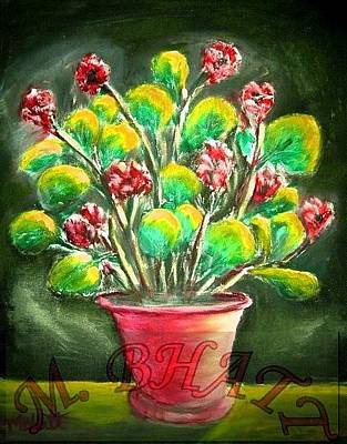 Painting - Flowers In The Red Pot by M Bhatt