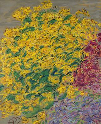 Impressionist Photograph - Flowers Pastel On Paper by Anna de Noailles