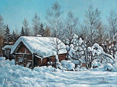 Village Painting - Fluffy Snow by Alexander Volya