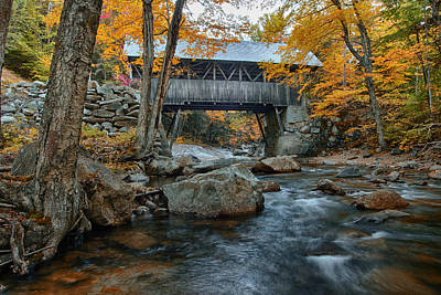 Flume Gorge Covered Bridge Art Print