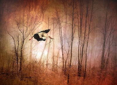 Stork Digital Art - Fly Away Home by Jessica Jenney