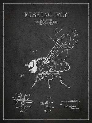 Sport Fishing Digital Art - Fishing Fly Patent Drawing From 1968 - Dark by Aged Pixel