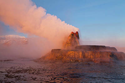 Fly Geyser With Snow Capped Granite Art Print by Chuck Haney