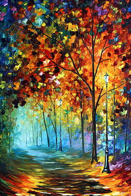 Tree Oil Painting - Fog Alley by Leonid Afremov
