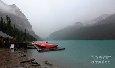 Photograph - Foggy Lake Louise In Banff Alberta by Nick Jene