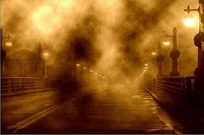 Art Print featuring the photograph Foggy Night At The Bridge by Holly Martinson