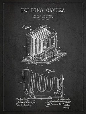 Vintage Camera Digital Art - Folding Camera Patent Drawing From 1904 by Aged Pixel