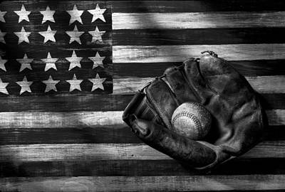 Folk Art American Flag And Baseball Mitt Black And White Print by Garry Gay