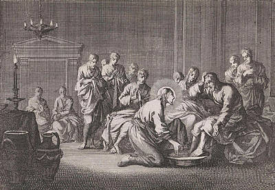 Foot Washing, Jan Luyken, Pieter Mortier Art Print