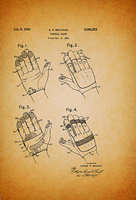 Football Art Drawing - Football Glove Patent 1963 by Mountain Dreams