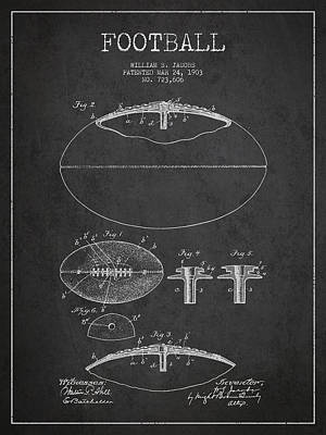American Football Drawings Drawing - Football Patent Drawing From 1903 by Aged Pixel