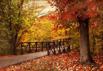 Fall Foliage Digital Art - Footbridge Crossing by Jessica Jenney