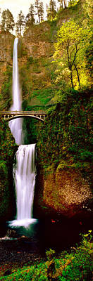 Footbridge In Front Of A Waterfall Art Print by Panoramic Images