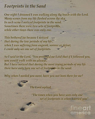 Footprints In The Sand Poem Art Print by Bob Sample