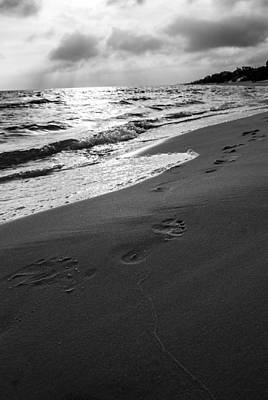 Undertow Photograph - Footprints In The Sand by Shelby  Young