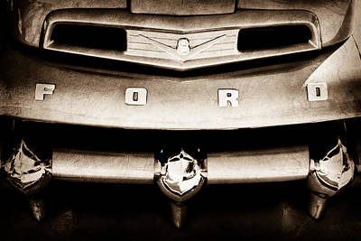 Ford Pickup Photograph - Ford F-1 Pickup Truck Grille Emblem by Jill Reger