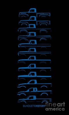 Truck Digital Art - Ford F-series Silhouettehistory by Balazs Iker