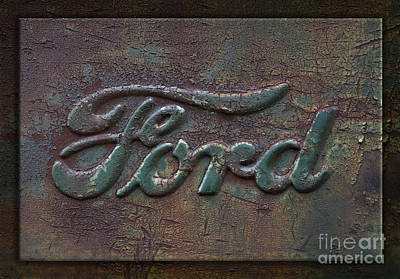 Detail Old Rusty Ford Pickup Truck Emblem Art Print by John Stephens
