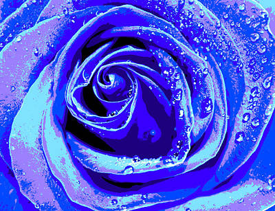 Abstract Flower Photograph - Forever In Blue by Krissy Katsimbras