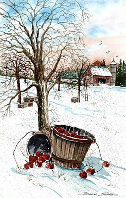 Apple Picking Painting - Forgotten Apples by Steven Schultz
