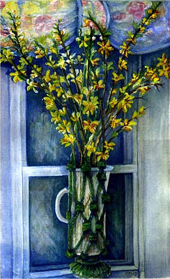 Wall Art - Painting - Forsythia by Elle Smith Fagan