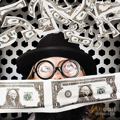 Fortune 500 Businessman Covered In Us Dollars Print by Jorgo Photography - Wall Art Gallery