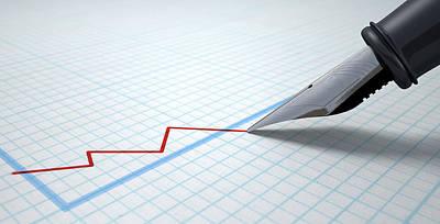 Pen Digital Art - Fountain Pen Drawing Declining Graph by Allan Swart