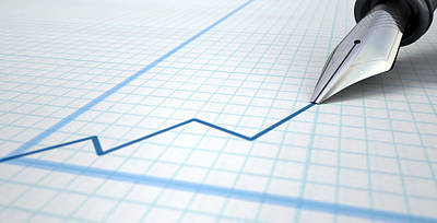 Progress Digital Art - Fountain Pen Drawing Increasing Graph by Allan Swart